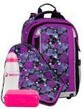 Dívčí školní batoh pro prvňáčky motiv kytky BAGMASTER Velký SET MERCURY 8 A