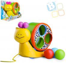 B-KIDS Baby šnek tahací Speedy set s paličkou a 3 míčky pro miminko
