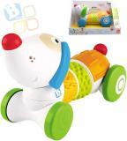 B-KIDS Baby štěňátko senzorické Twist and Roll jezdící na baterie na kolečkách Zvuk