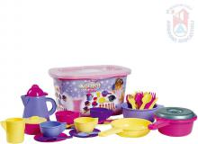 ANDRONI Kávový s kuchyňský set dětské plastové nádobí s úložným boxem