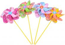 Větrník plastový na tyčce klasický Motýlci různé barvy