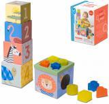TAF TOYS Baby sada kostek a tvarů 13ks vkládačka zvířátka Savana karton
