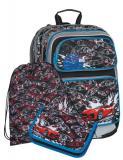 Klučičí školní batoh pro prvňáčky v setu se závodním autem Bagmaster SET GALAXY 7 D BLACK/BLUE