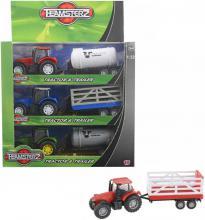 Teamsterz set traktor s přívěsem 2 druhy 1:32 v krabičce