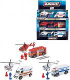 Teamsterz auto kovové záchranářské / policejní set s helikoptérou a doplňky