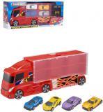 Teamsterz kufřík herní set 2v1 auto nákladní tahač + 4 autíčka
