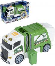 Teamsterz auto zeleno-bílé popeláři set s popelnicí na baterie Světlo Zvuk plast