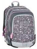 Dívčí tříkomorový školní batoh pro prvňáčky Bagmaster ALFA 7 B GREY/PINK