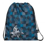 Klučičí školní sáček na přezůvky čtyřkolka Bagmaster SHOES GALAXY 7 F BLACK/BLUE/GREY