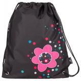 Dívčí školní sáček na přezůvky s kytičkami Bagmaster SHOES LIM 7 A BLACK/PINK