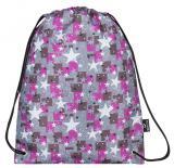 Dívčí školní sáček na přezůvky s hvězdičkami Bagmaster SHOES MERCURY 7 A PINK/GREY