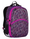 Tříkomorový dívčí školní batoh od 4. třídy Bagmaster MADISON 7 A BLACK/VIOLET/GREY