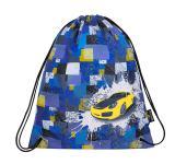 Klučičí  školní sáček na přezůvky auto BAGMASTER SHOES EPSON 8 B BLACK/BLUE/YELLOW