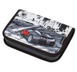 Klučičí jedchochlopňový penál motiv auta BAGMASTER CASE LIM 9 B BLACK/WHITE/RED
