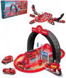 Herní set velký hasičský okruh dráha s auty / garáž 2v1 v krabici
