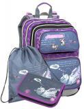 Dívčí školní batoh pro prvňáčky v setu s penálem a sáčkem BAGMASTER Malý SET GALAXY 9 A