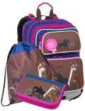Dívčí školní batoh pro prvňáčky v setu s penálem a sáčkem BAGMASTER Malý SET GALAXY 9 B