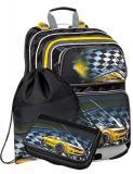 Školní batoh pro prvňáčky v setu s penálem a sáčkem BAGMASTER Malý SET GALAXY 9 D