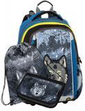 Klučičí školní batoh pro prvňáčky v setu, motiv vlk BAGMASTER Malý SET MERCURY 9 C