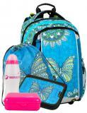 Dívčí školní batoh pro prvňáčky motiv motýl BAGMASTER Velký SET MERCURY 9 B