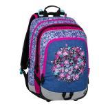 Školní batoh pro prvňáčky ALFA 20 A BLUE/PINK/WHITE, motiv květin, holčičí, růžová, dívky, kytky