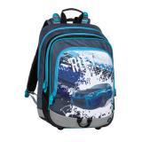 Školní batoh pro prvňáčky BAGMASTER ALFA 20 D BLUE/GREY/BLACK, MOTIV AUTO MODRÝ, sporťák, autíčko, pro kluky, originální design,