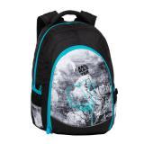Studentský batoh se skrytou kapsou na zádech, BAGMASTER  DIGITAL 20 B TURQUOISE/GRAY/BLACK, pro dívky, květiny, jemný motiv