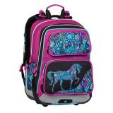 Školní batoh pro prvňáčky BAGMASTER GEN 20 A PINK/BLACK/VIOLET/BLUE, MOTIV KONĚ, ROZTOMILÉ, KONÍK, pro dívky