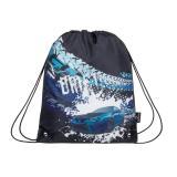 Klučičí školní sáček na přezůvky/sport BAGMASTER SHOES ALFA 20 D BLUE/GRAY/BLACK, auto, modré, stylové, design