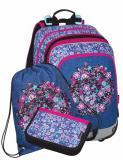Dívčí Malý SET BAGMASTER SET ALFA 20 A, květiny, školní set, batoh, penál, sáček