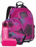Dívčí Velký SET BAGMASTER MARK 20 A, motiv květin, kytky, pro dívky, novinka, růžová, stylový batoh