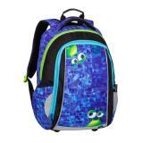 Klučičí školní batoh BAGMASTER MARK 20 B BLUE/GREEN/BLACK, příšerky, ufo, future, design, modrý, pro chlapce