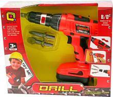 Vrtačka aku dětská červená 21cm na baterie set se 2 extra vrtáky v krabici
