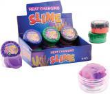 Sliz magický teplem mění barvu v plastové krabičce různé barvy