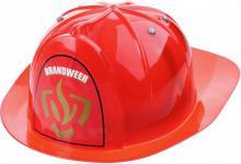 Přilba dětská hasičská helma červená plast