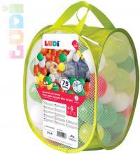 LUDI Baby sof míčky měkké barevné set 75ks zelené v igelitové tašce plast