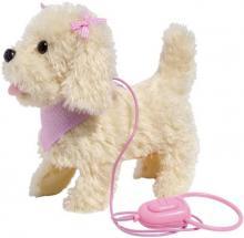 PLYŠ Štěňátko na procházce pejsek na baterie s vodítkem na kabel štěká chodí Zvuk