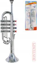 BONTEMPI Trumpeta dětská stříbrná 4 klapky plast *HUDEBNÍ NÁSTROJE*