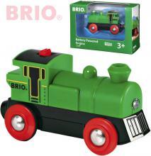 BRIO DŘEVO Lokomotiva na baterie zelená příslušenství k vláčkodráze Světlo