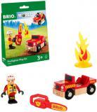 BRIO DŘEVO Požární zásah herní set s autem a figurkou