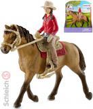 SCHLEICH Set jezdkyně westernová na koni plast