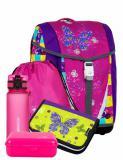 Dívčí školní aktovka-batoh s motýlky v setu Bagmaster Velký SET POLO 6 A