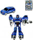 Transrobot auto / robot policejní 23cm s transformací 2 barvy plast