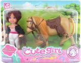Jezdecký set kůň osedlaný 12cm + panenka žokejka v krabici plast