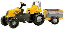 ROLLY TOYS Traktor šlapací s vlekem zelený Junior s Farm vlečkou - žlutý