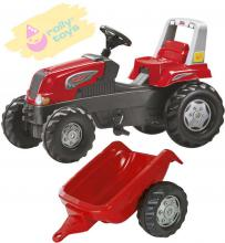 ROLLY TOYS Traktor dětský šlapací Junior s vlečkou červený 800315