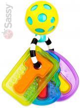 SASSY Baby chrastítko klíčenka míček 15cm plast pro miminko na kartě