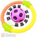 SASSY Baby rotující chrastítko s míčkem 13cm plast pro miminko na kartě