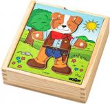 WOODY DŘEVO Baby puzzle šatní skříň pejsek 18 dílků *DŘEVĚNÉ HRAČKY*