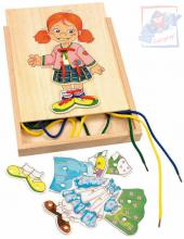 WOODY DŘEVO Šněrování šatní skříň holčička oblékací provlékačka s tkaničkami